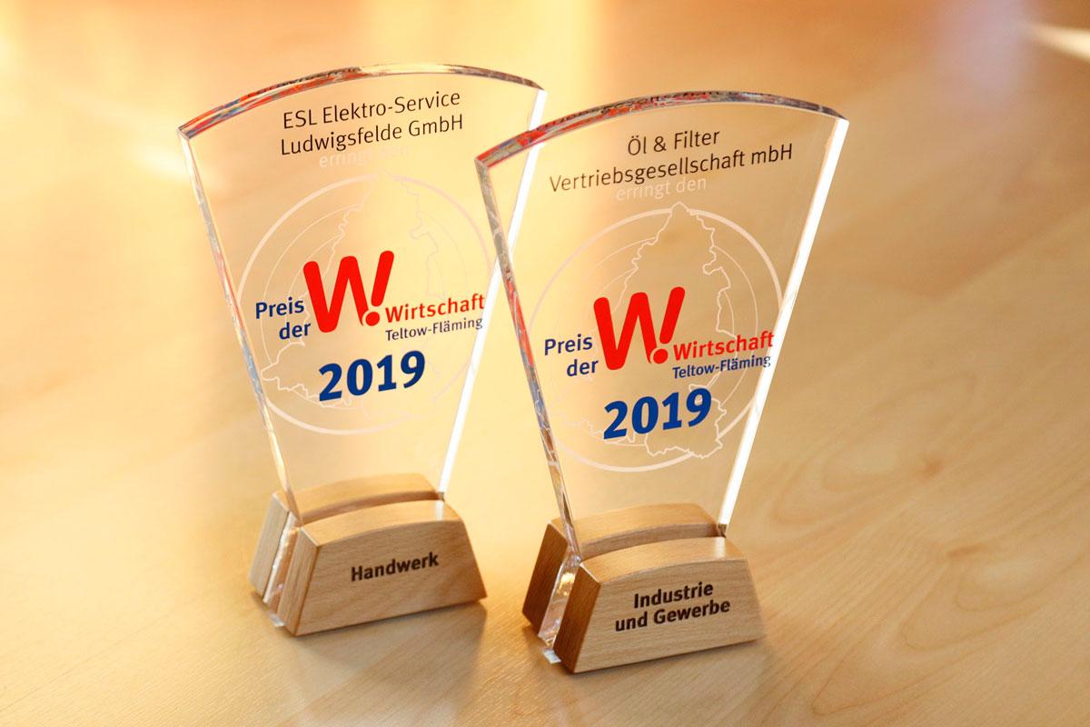 Pokale der Sieger beim Preis der Wirtschaft 2019