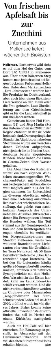 Artikel (gekürzt) der Märkischen Allgemeinen vom 19. August 2021