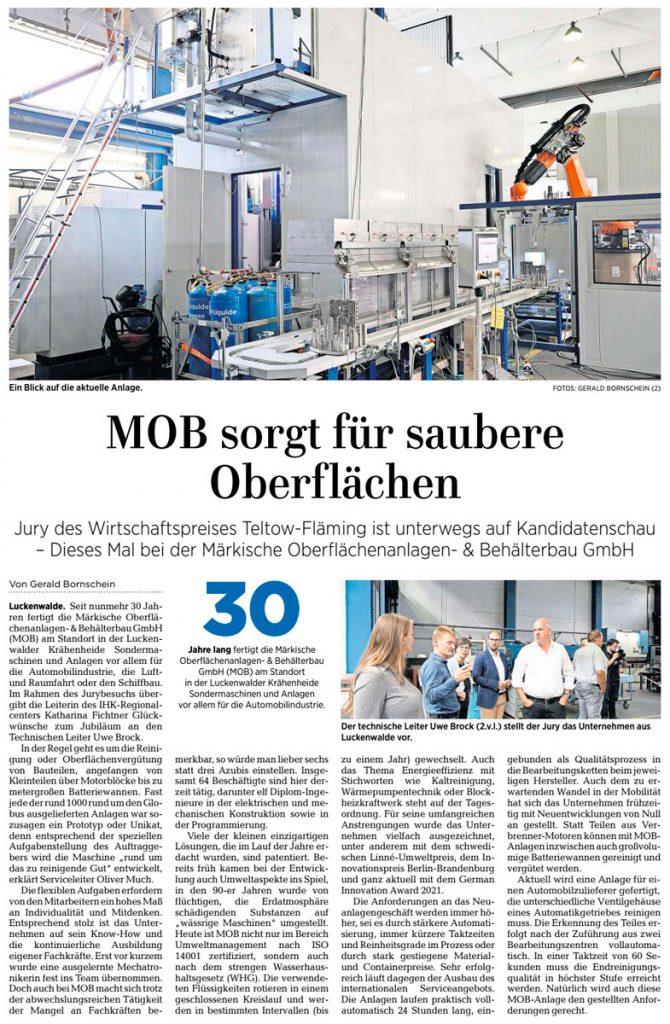Artikel der Märkischen Allgemeinen vom 19. August 2021